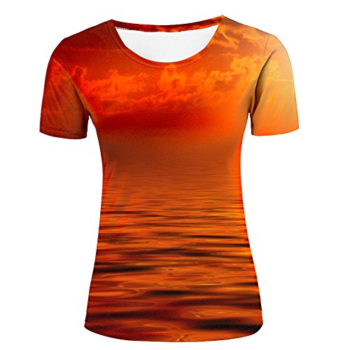 Scarlet sunset sky over ocean Women's t shirt top L