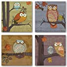 Awesome Owls Set by Paul Brent 8 x8  Art Print Poster