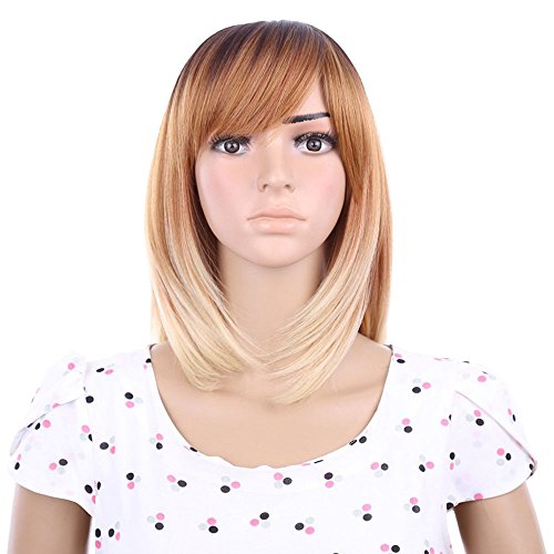 DENIYA Hot Sale Ombre Wigs 12 Inches Top Quality Medium Length Straight Bob Wigs Capless Synthetic Hair Wig with Bangs