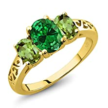 buy 3.10 Ct Oval Green Simulated Emerald Green Peridot 14K Yellow Gold 3-Stone Ring
