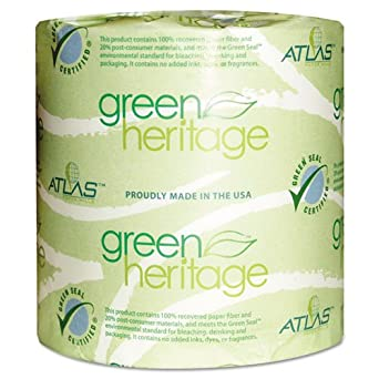 "Green Heritage 125 4.5"" Length x 3.8"" Width, 1-Ply Bathroom Tissue (Case of 96 Rolls, 1000 per Roll)"
