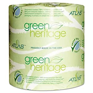 "Green Heritage 125 4.5"" Length x 3.8"" Width, 1-Ply Bathroom Tissue (Case of 96 Rolls, 1000 per Roll)"