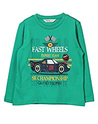 Beebay Fast Wheel Car Print T-Shirt (B0815204703713_Green_7Y)