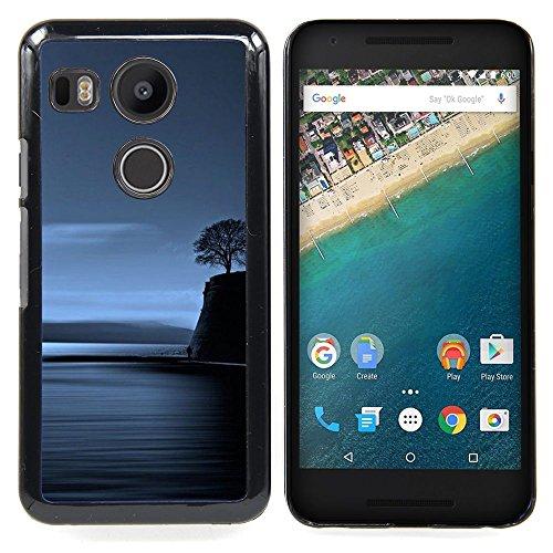 - Coast Lonely Tree Blue Ocean Night Deep/ Copertura dura Snap On Cell Phone - Cao - For LG Google Nexus 5X