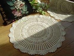 New Vintage style Hand cotton crochet round Ecru Doily/Place mat