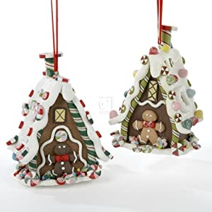 """4.5"""" CLAYDOUGH 3-D GINGERBREAD HOUSE HANGING ORNAMENT SET OF 2 - Christmas Ornament"""