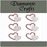 6 x 27 Red & Clear Diamante Double Hearts Self Adhesive Craft Rhinestone Embellisment Gems - created exclusively for Diamante Crafts