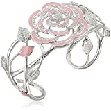 Sterling Silver Diamond-Accent Rose Cuff Bracelet