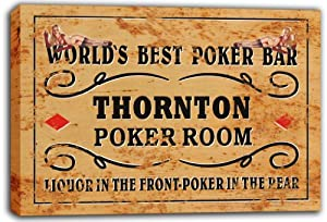 scqn1-2263 THORNTON Best Poker Room Bar Beer Stretched Canvas Print Sign