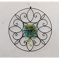 Green Gardenia Iron Spanish Round Wall Bracket Small With Metal Bucket-Light Blue