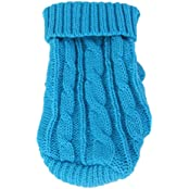 Imported Dog Puppy Warm Winter Knitted Sweater Clothes Apparel Costume 10# Lake Blue