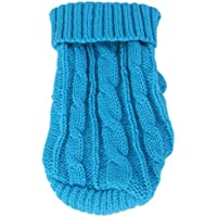 Imported Dog Puppy Warm Winter Knitted Sweater Clothes Apparel Costume 12# Lake Blue
