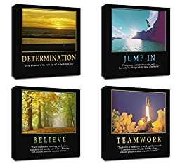4Pcs x Motivational Quotes Motto Inspirational Success Teamwork Canvas Stretched Wood Framed Combine Modern Abstract Art For Home Room Office Wall Print Decor 18x18\
