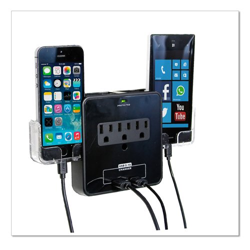 Rnd Wall Power Station Includes 3 Ac Plugs And 2 Usb Ports With Surge Protection. Also Includes 2 Slide-Out Holders For Your Smartphone.