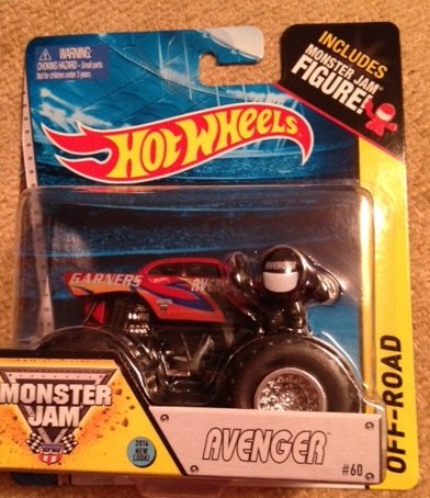 Hot Wheels Monster Jam AVENGER Red #60 includes monster jam figure #60