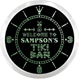ncpm1817-g SAMPSON'S Tiki Bar Pub Beer LED Neon Sign Wall Clock