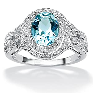 PalmBeach Jewelry 2.50-Carat Oval-Cut Genuine Blue Topaz Platinum over Sterling Silver Ring