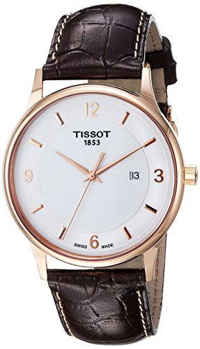 Tissot-Mens-T-Gold-Swiss-Quartz-and-Leather-Automatic-Watch-ColorBrown-Model-T9144104601700