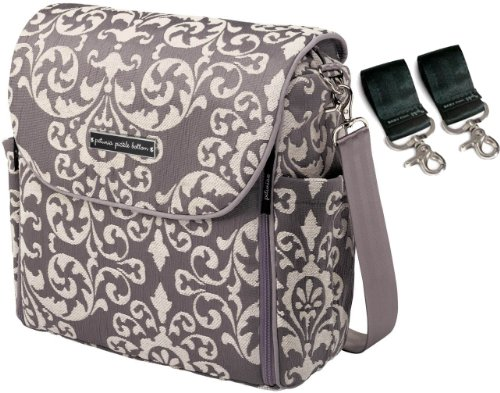 Petunia Pickle Bottom Earl Grey Boxy Backpack + Valet Stroller Clips front-1022537