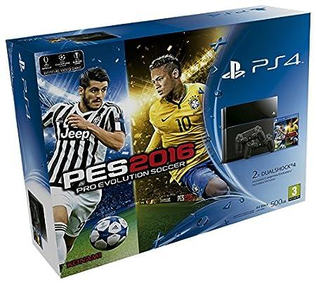 PlayStation 4 - Consola 500 GB + PES 2016 + 2 Mandos DualShock