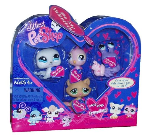 Hasbro Littlest Petshop 14058 Valentine Box 4 Pets – Seal, Pink Canary, Purple Crab and Beige Cat kaufen