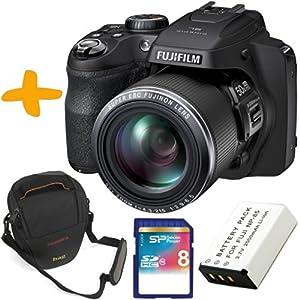 """Fuji SL1000 Digitalkamera + Tasche + Ersatzakku + 8GB SDHC Speicherkarte (Fujifilm Finepix SL1000 Schwarz 16.2MP 50x optischer Zoom 3 """"LCD)"""