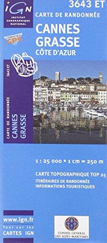 Cannes Grasse Cote D'Azur Topo 25 - 3643 ET (French Edition)