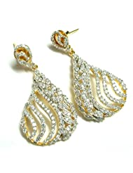 Aria Evening Collection Gold Plated Cubic Zircon Teardrop Dangle Earring For Women