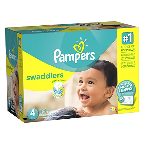 Pampers Swaddlers Diapers, Size 4, One Month Supply, 164 Count (Packaging May Vary)