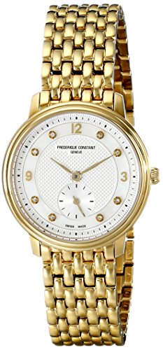 Frederique Constant Women'S Fc-235Mpwd1S5B Slim Line Yellow Goldtone Stainless Steel Watch