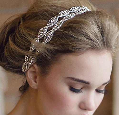 Healthcom Headband Tiara Double Strip Diamond Elegant Luxury Handmade Jewelry Beads Bridal Wedding Evening Pageants Accessory Hair Head Band