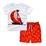 AJia® Kids 2 Piece Short Sleeve Shirt and Shorts for 1 to 5 Years Olds Little Boy (4t, White/Red)