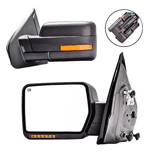 DEDC Towing Mirrors Ford F150,Ford Tow Mirrors,2007-2014 Pair Power Heated,Turn Signal Lights,Back Reflector 2007 2008 2009 2010 2011 2012 2013 2014 (F150 Mirror Heated Turn Signal compare prices)