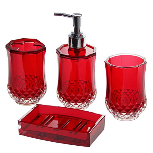 Justnile acrylic 4 piece bathroom accessory set for Bathroom accessories acrylic