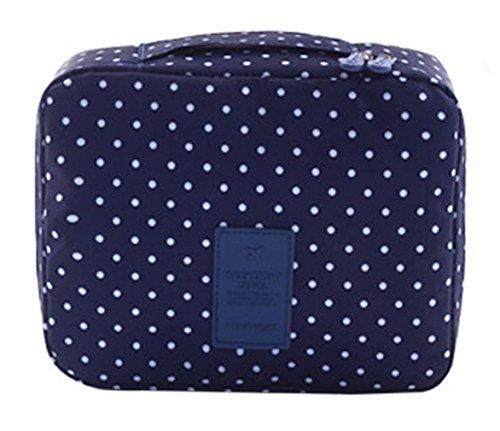 EOZY-Borsa Cosmetici Beauty Case da Viaggio Sacco Impermeabile per Accessori Bagno (Blu con Punti)