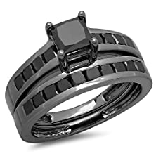 buy 2.35 Carat (Ctw) Black Rhodium Plated Sterling Silver Black Diamond Engagement Ring Set (Size 7)