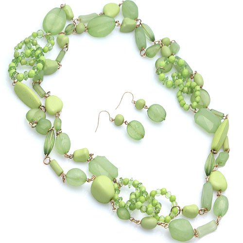 Long 60 Inch Light Green Beaded Necklace Set