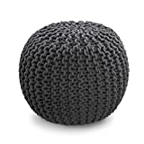 Dark Grey Knitted Pouffe Footstool - 100% Cotton