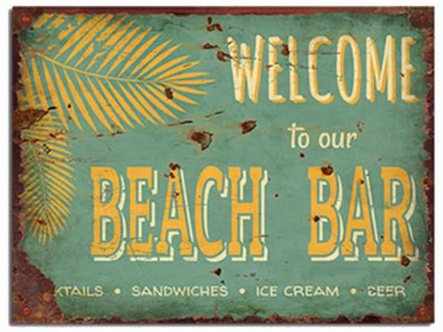 Welcome To Our Beach Bar (Vintage / Beachy Themed / Old) - Wooden Wall Decor - Wood Sign