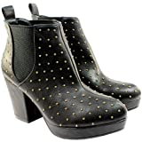 Womens Gold Pin High Heel Platform Chelsea Ankle Boots Black Suede