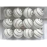Queens Of Christmas WL-ORN-12PK-LN-SV 12 Pack Ball Ornament With Line Design, Silver/White