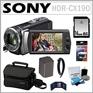 Sony HDR-CX190 HD Handycam Camcorder with 5.3MP and 25x Optical Zoom + 16GB SDHC + Sony Case + Replacement Battery Pack + Mini HDMI Cable + Accessory Kit