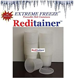 Extreme Freeze Reditainer Freezeable Deli Food Containers w/ Lids - Food Storage
