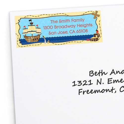 Ahoy Mates! Pirate - Personalized Birthday Party Return Address Labels - 30 Ct front-698876