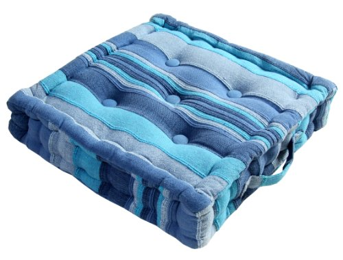 Homescapes - Morocco Striped - 100% Cotton - Floor Cushion - Blue - 40 x 40 x 10 cm Square - Indoor - Garden - Dining Chair Booster - Seat Pad Cushion