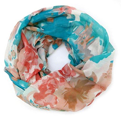accessu-Echarpe-Foulard-pour-Femme-Floral-Watercolour-Design-in-coralturquoise