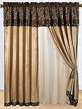 8 Pc Modern Safari - Zebra - Giraffe Print Brown Micro Fur Curtain Set