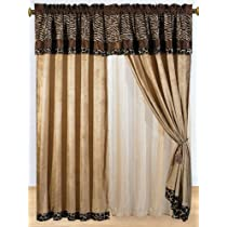 Zebra - Giraffe Print Brown Micro Fur Curtain 8 Pc Set