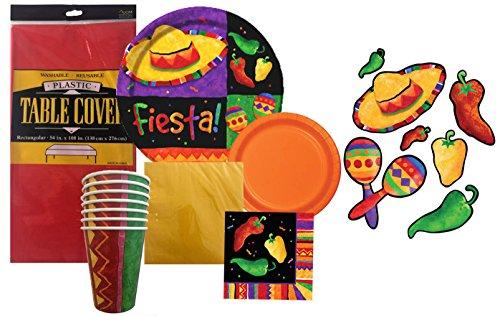 Cinco De Mayo Disposable Dinnerware Party Bundle - Festive Fiesta - Dinner Plates, Dessert Plates, Cups, Napkins, Table Cover & Decorations (Serves 8) (Margarita Party Napkins compare prices)