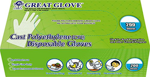 GREAT GLOVE CPE200-M-BX Cast Polyethylene (CPE) Food Service Gloves, Latex-Free, FDA 21CFR 170-199 Compliant, Embossed, Medium, Clear (Pack of 200) (Food Service Gloves Latex Free compare prices)